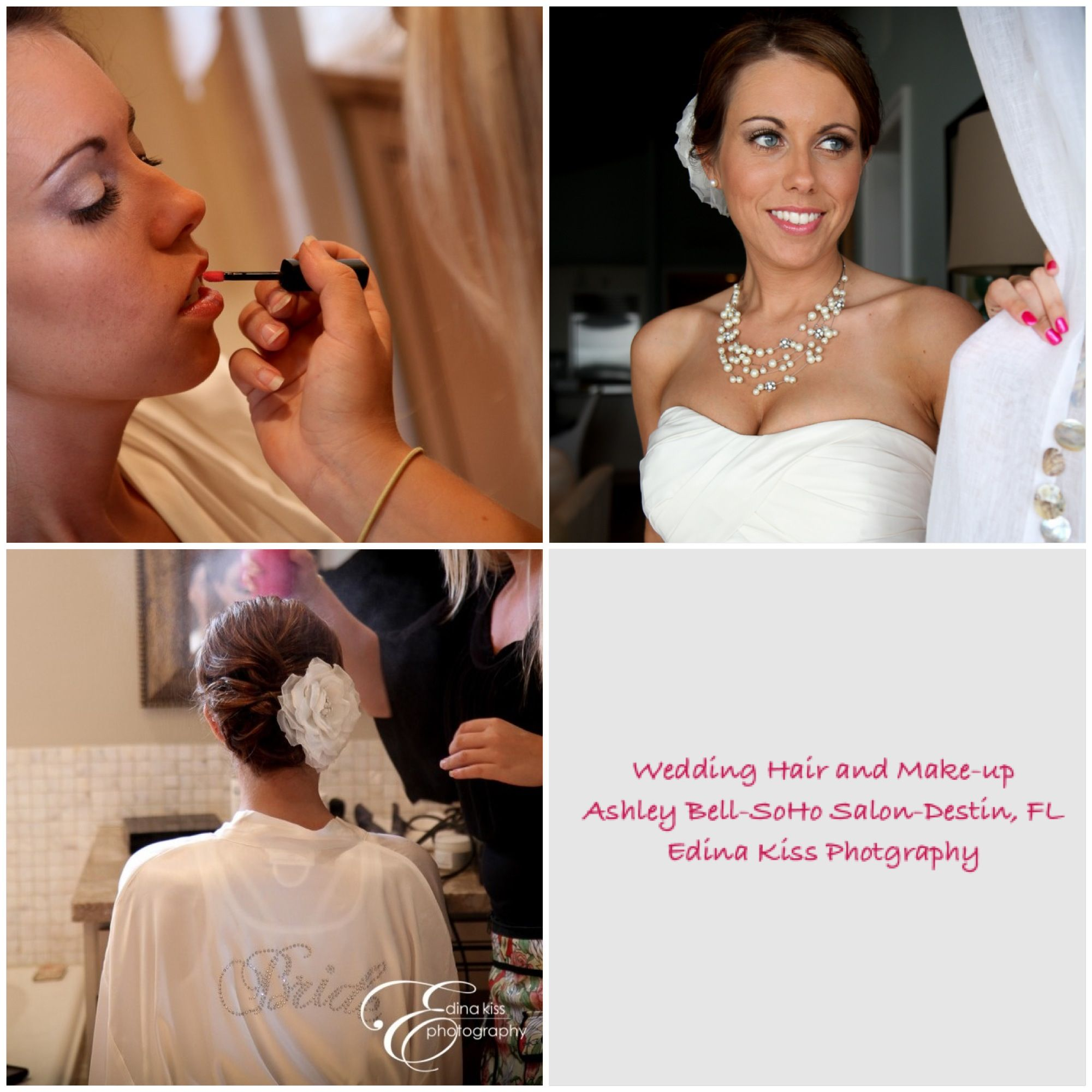 wedding hair and make-up by ashley bell, soho salon, destin, fl
