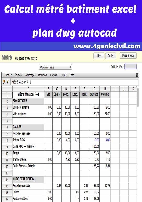 Plan dwg bâtiment et calcul métré Une feuille excel ...