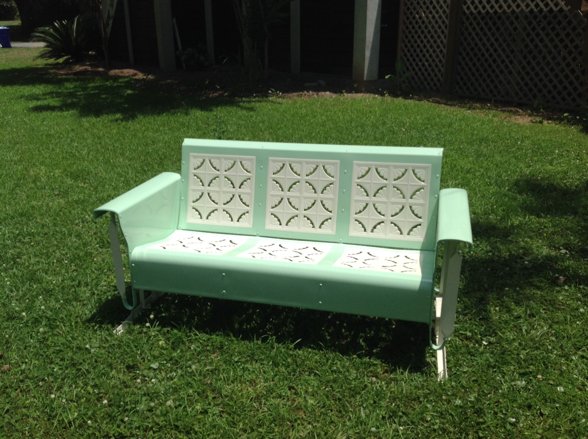 for bench patio outdoor chair ideas gliders iron your round wrought with furniture backyard contemporary cool porch glider green table rocking design