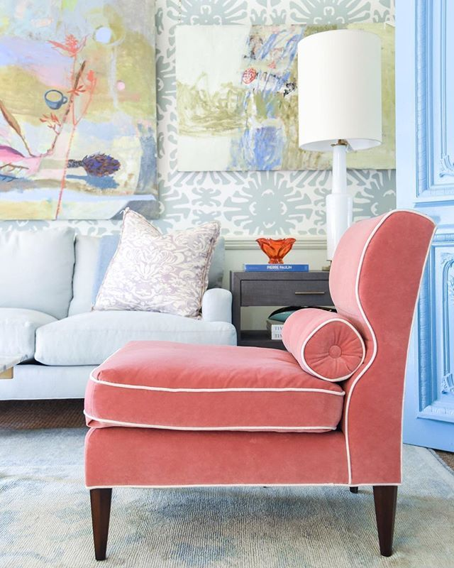 abstract art by charlotte seifert | coral velvet slipper chair ...