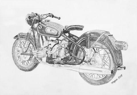 bleistift zeichnung bleistiftzeichnung motorrad krad oldtimer bmw r69s. Black Bedroom Furniture Sets. Home Design Ideas