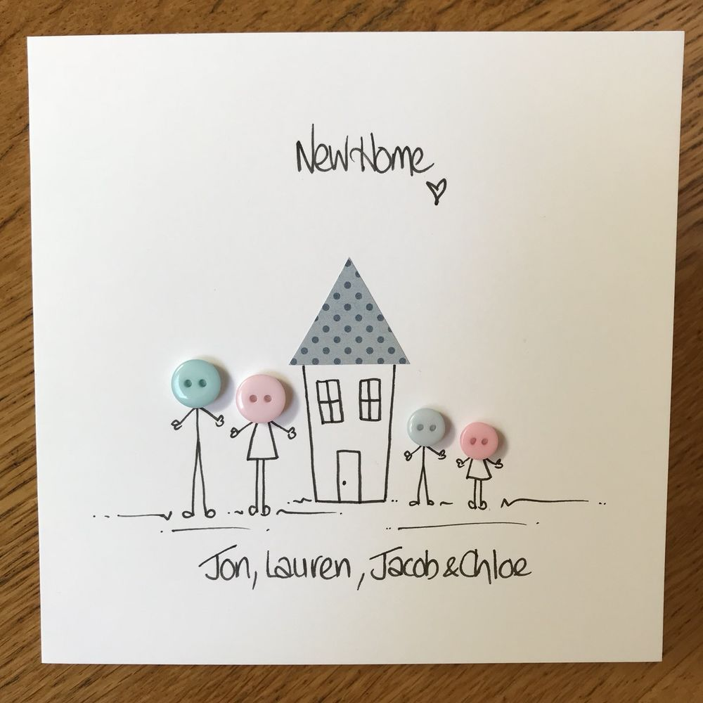 Handmade Button New Home Card Free Postage Can Be Personalised New Home Cards Housewarming Card Cards Handmade