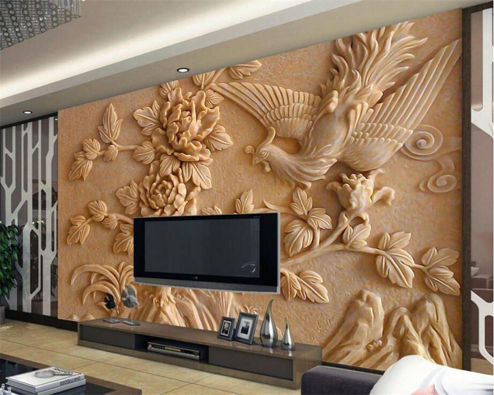 Beibehang 3d Wallpaper Stereo Relief Phoenix Peony Mural Living
