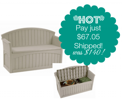 Great Suncast Patio Bench With Storage Only $67.05 (Was $140!)