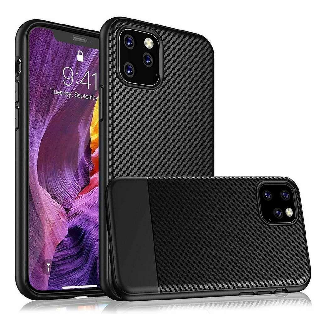 Carbon fiber case for iphone 11 pro max shockproof tough