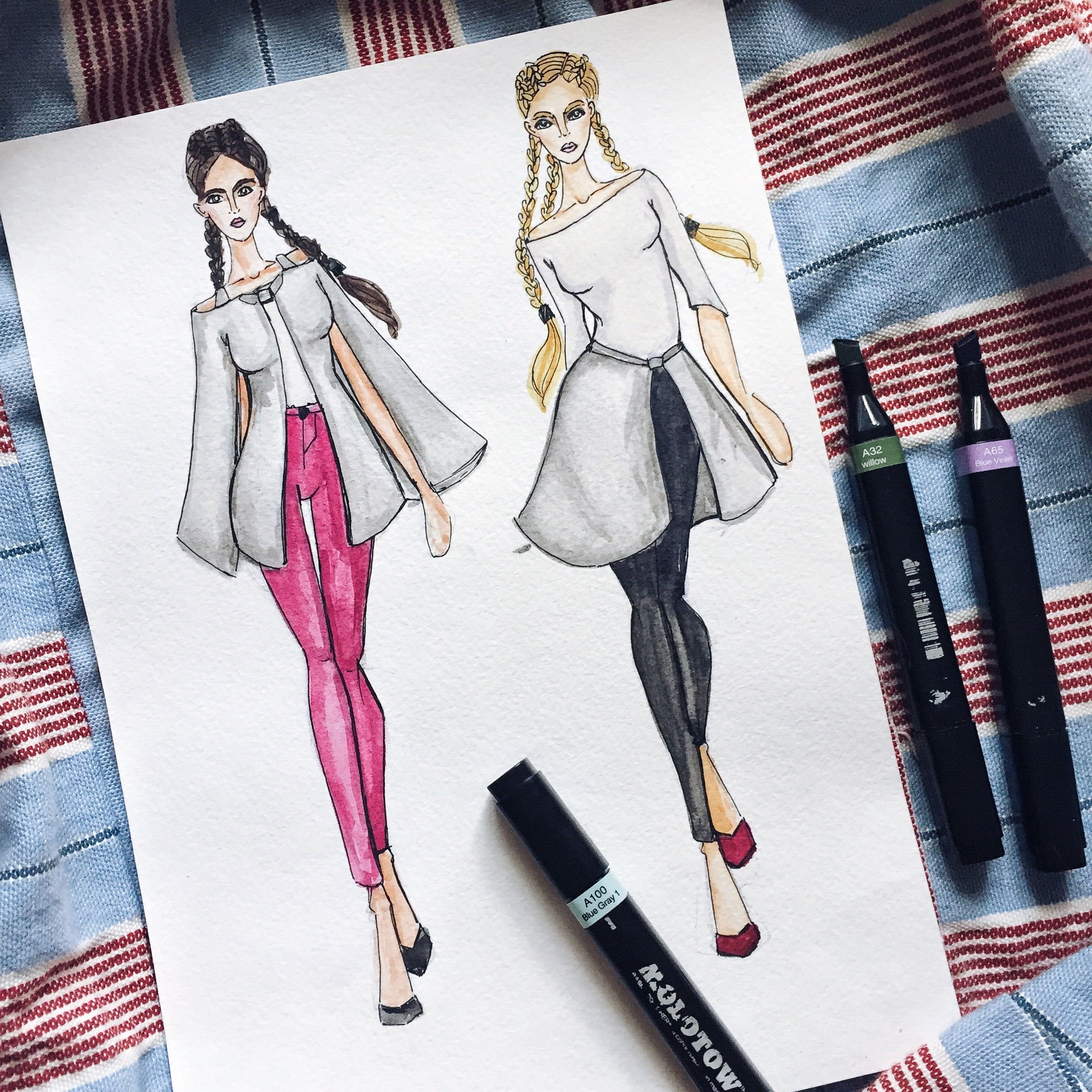 Hair Style Template: Fashion Illustration Sketches Outfit Dressing Art Artwork