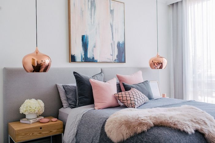 couleur chambre adulte, modele de chambre rose et gris, avec linge