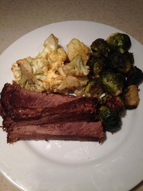 Grass Fed Beef Brisket With Easy Roasted Cauliflower And Brussels Sprouts More Delicious 100 Gr Easy Roasted Cauliflower Roasted Cauliflower Cooking Recipes