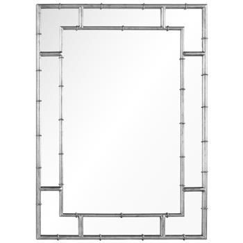 Gable Hollywood Regency Distressed Silver Leaf Iron Bamboo Mirror