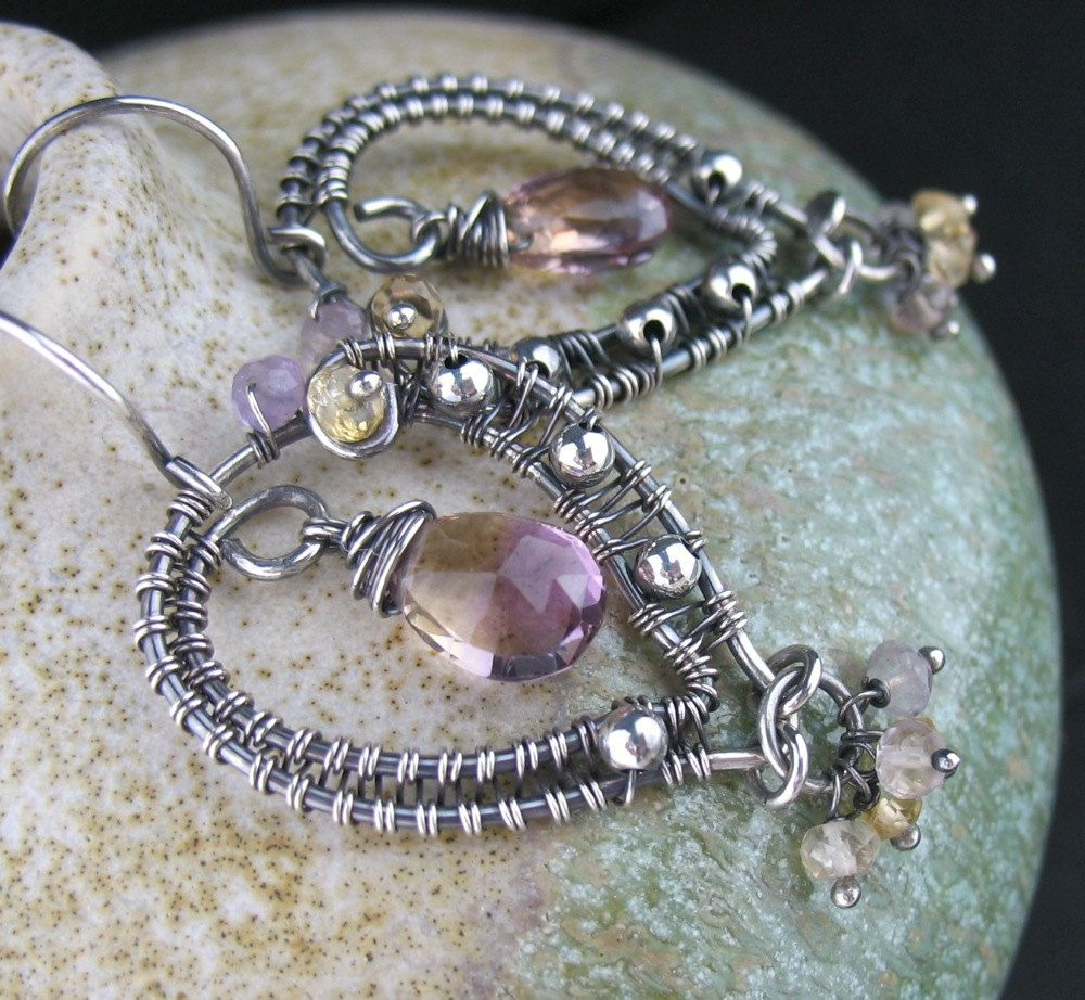Wire Wrapped Ametrine Earrings, Wire Wrapped Ametrine Jewelry, Wired ...