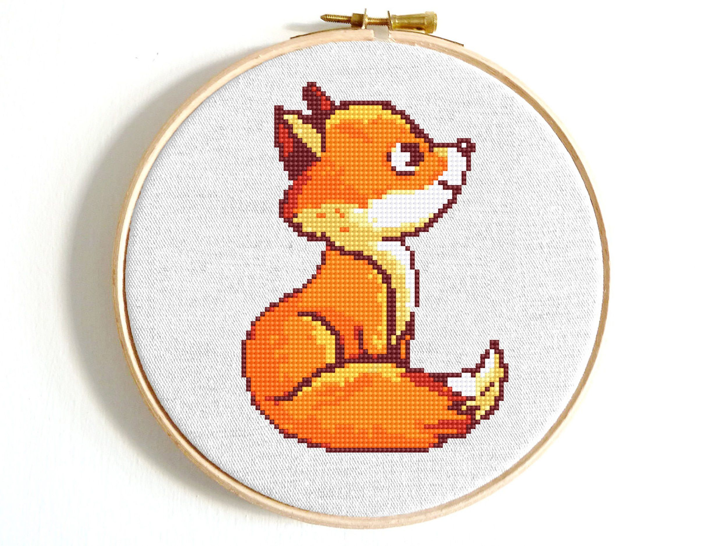 The Fox Girl DIY Chart Counted Cross Stitch Patterns Needlework embroidery