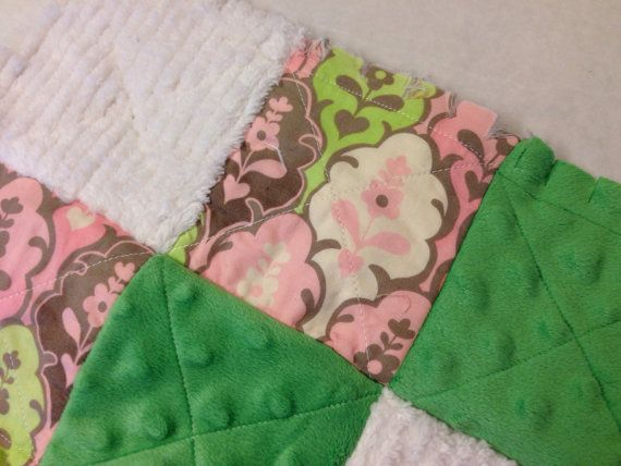 Girl's Chic Lovey Rag Quilt Girl's Blankey pink by CozyByChristine, $14.00