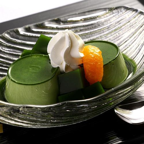 The colour is truly pretty  Green Tea Puding