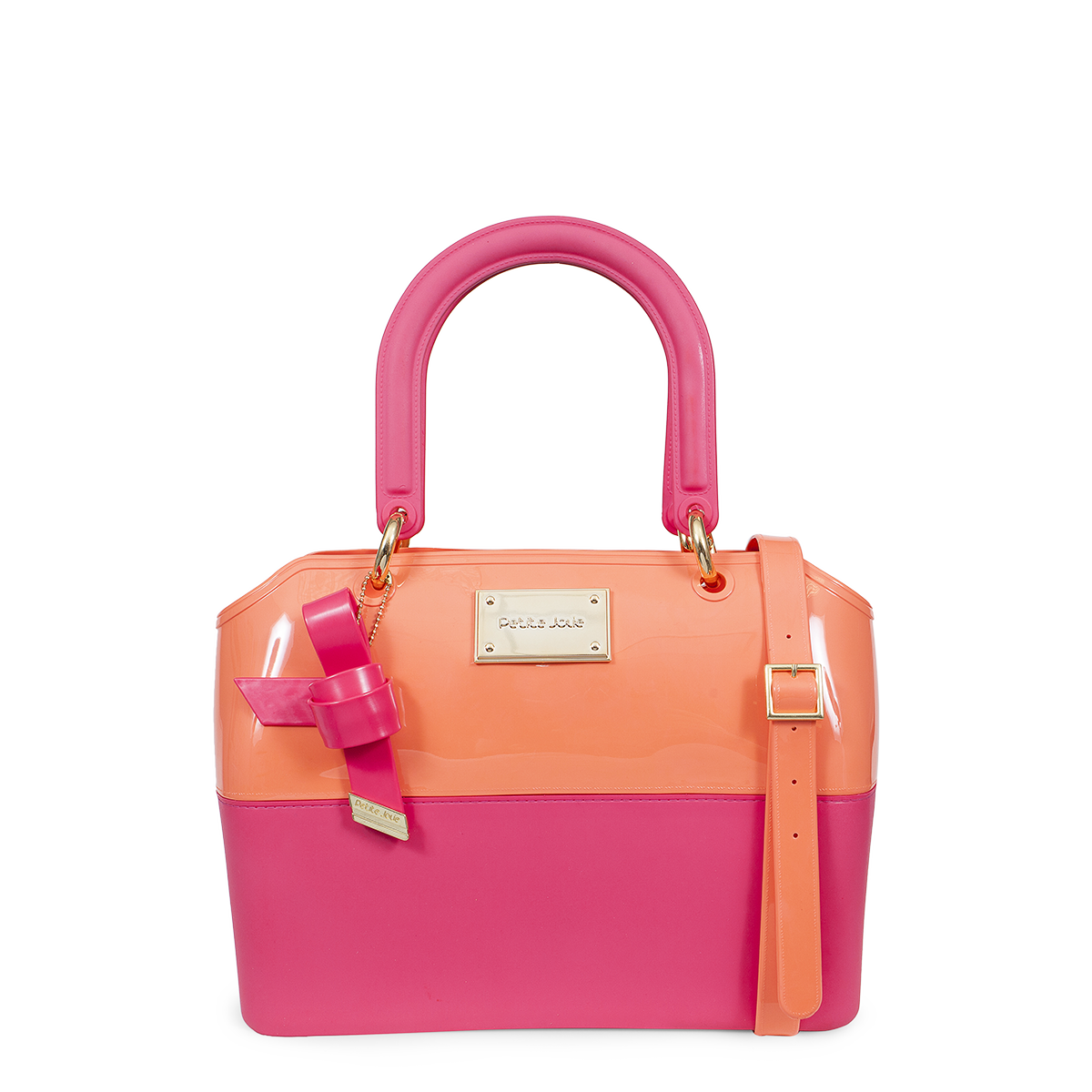 0f6a7b9915 Bolsa média Petite Jolie Zip Bag de PVC rosa com detalhe de laço e duas  opções