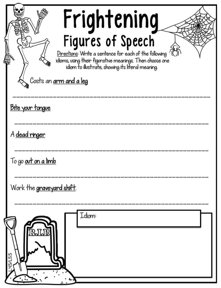 Fun figure of speech activity for the Halloween season!! A perfect - figure of speech example template