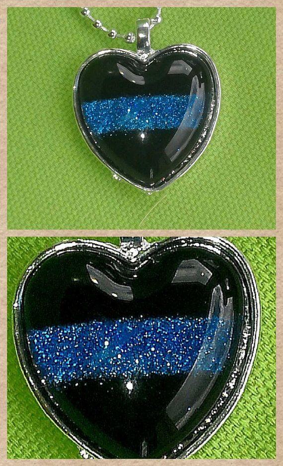 Thin Blue Line inspired heart pendant by GlitterPalooza on Etsy, $12.00