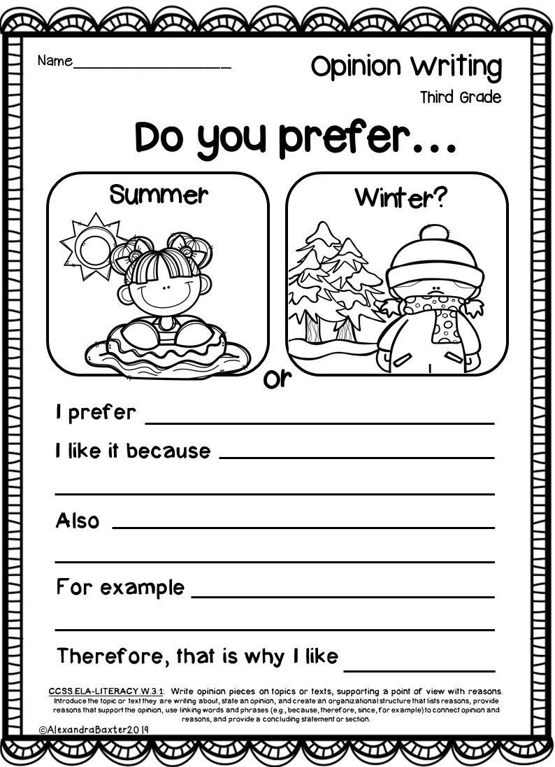 Third Grade Opinion Writing Prompts Worksheets In 2020