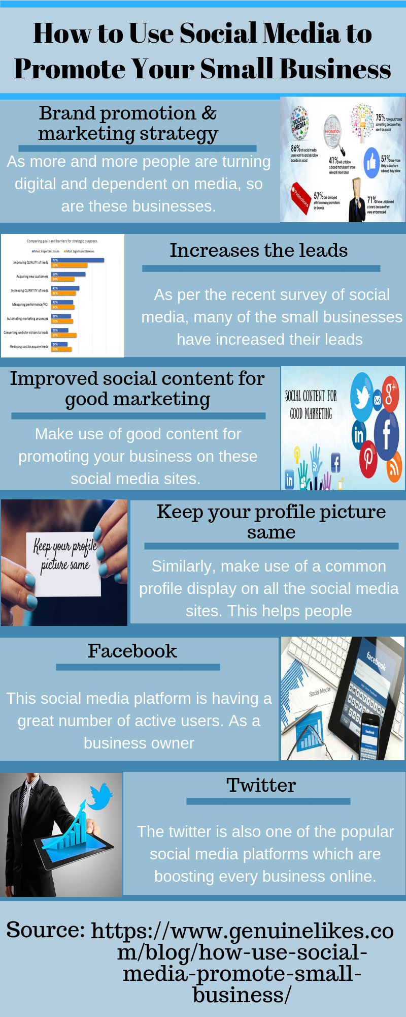 Use Social Media To Promote Your Small Business Genuinelikes Social Media Infographic Small Business Social Media Small Business Digital Marketing