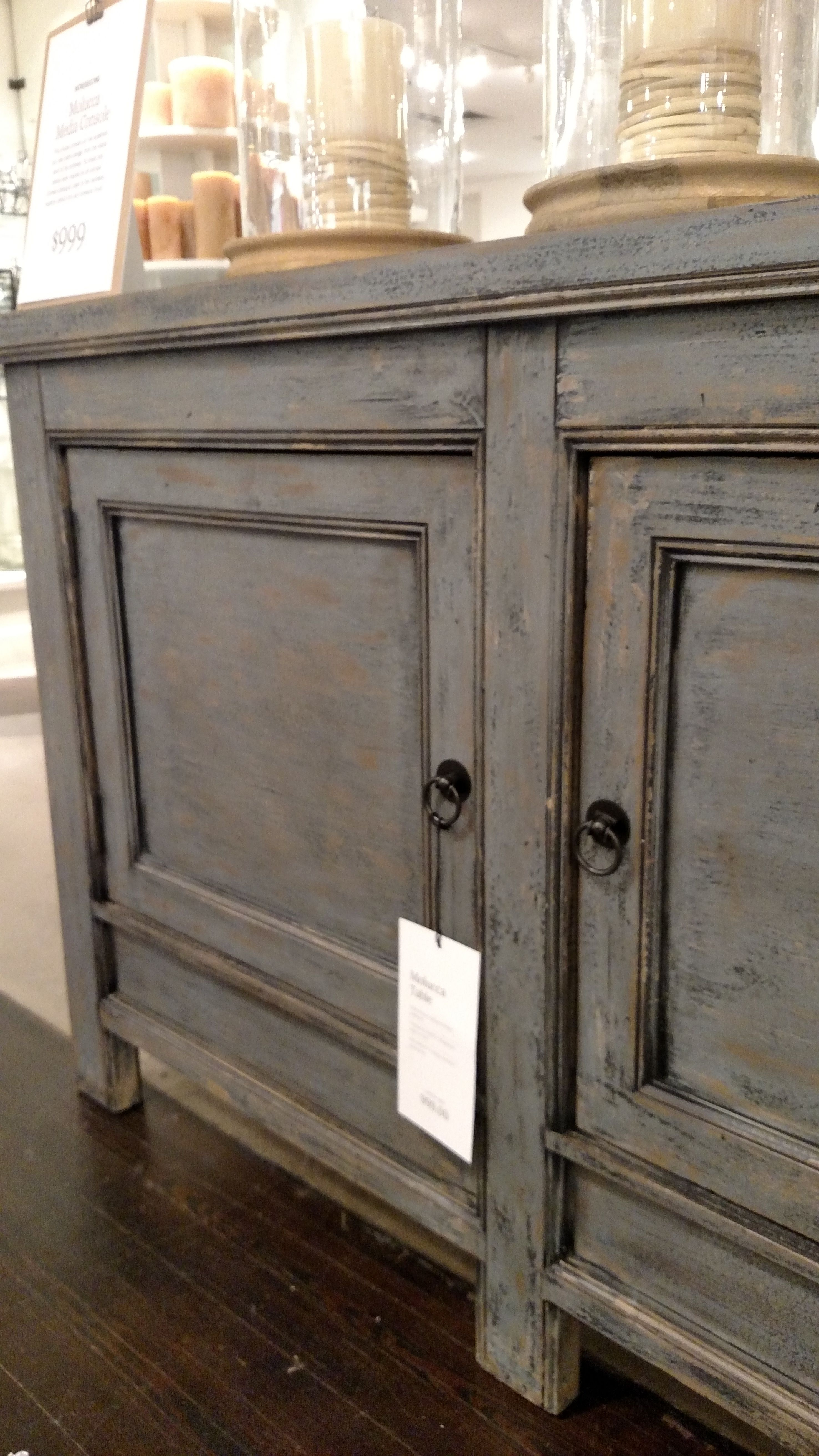 Pottery Barn Molucca Media Console Table Blue distressed paint ...