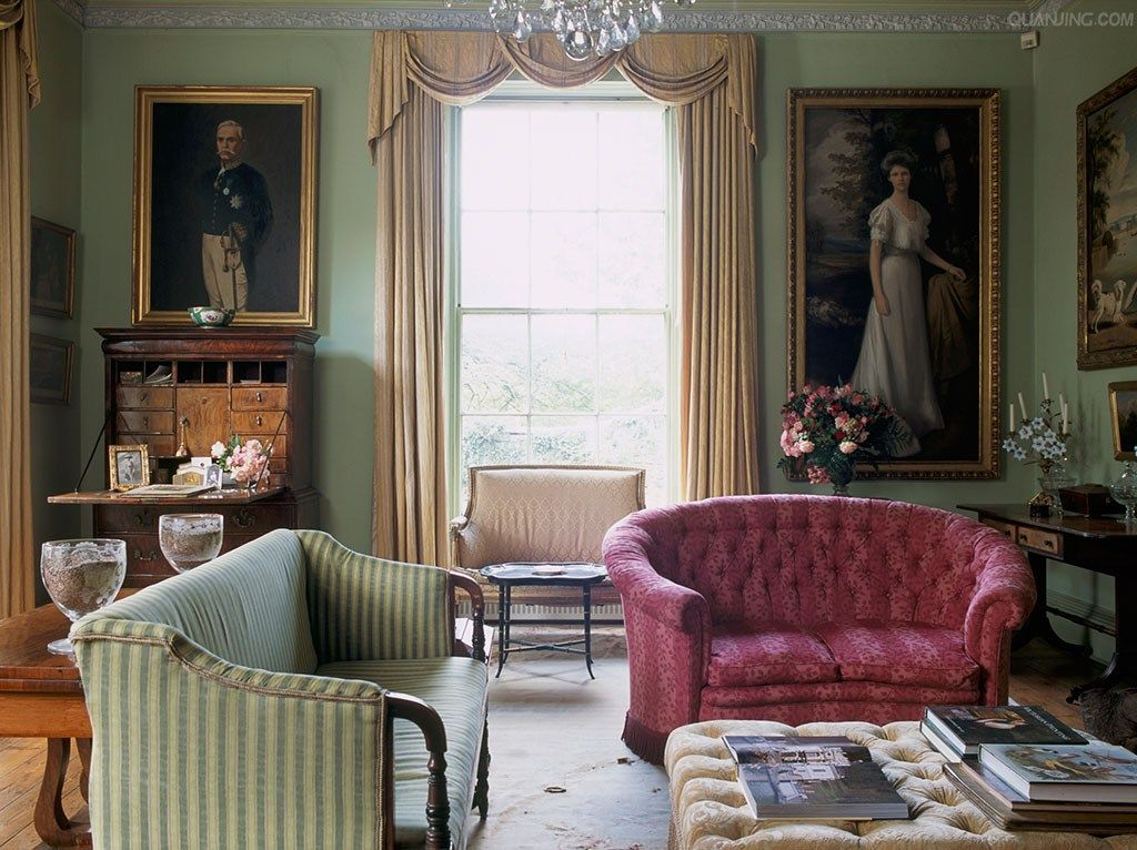 Room of the Day ~ deep pink and soft green complement each ...