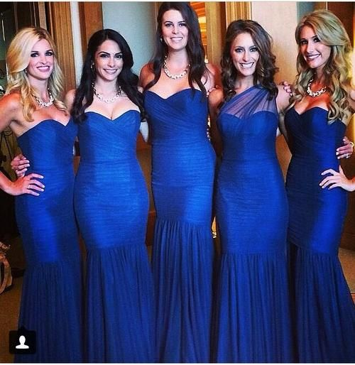 d1a4bd33ecc Discount Gorgeous Mermaid Royal Blue Bridesmaid Dresses 2015 Vintage  Sweetheart One-Shoulder Evening Gowns Formal Dress Maid Of Honor Dress  Online with ...