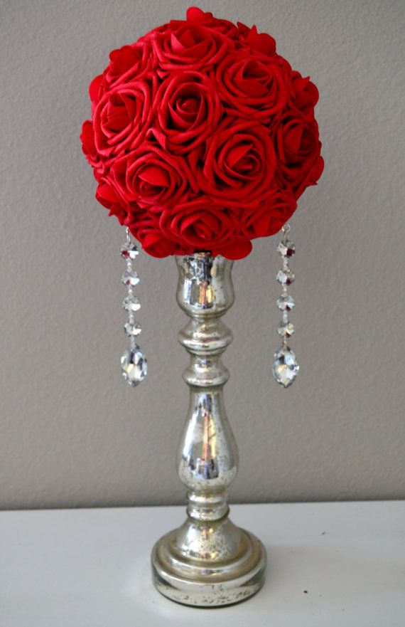 Red Crystal Bling Real Touch Roses Flower Ball By