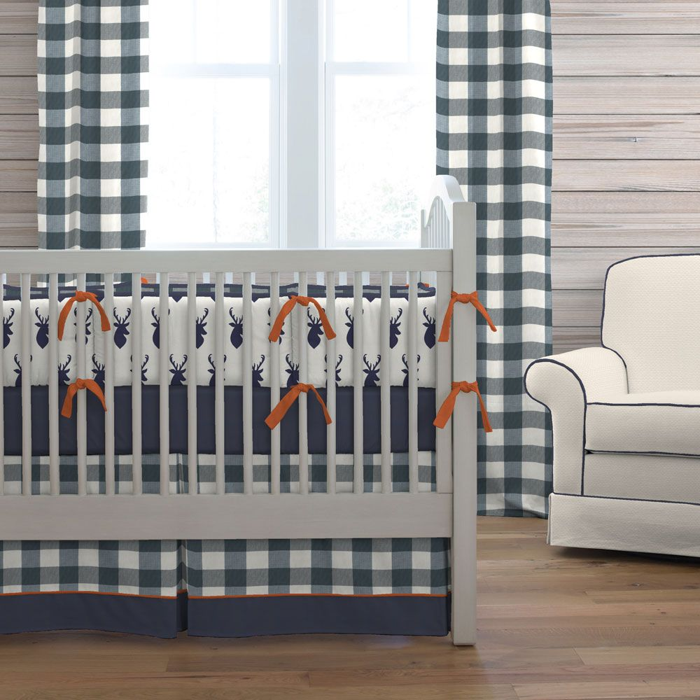 Navy Deer Woodland Crib Bedding Crib Bedding Boy Luxury Baby Crib Deer Crib Bedding
