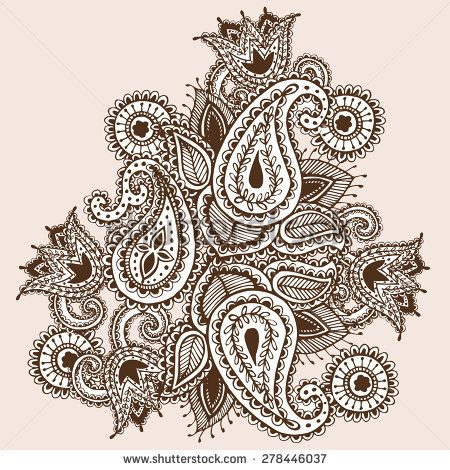 hand drawn henna mehndi abstract mandala flowers and paisley doodle vector illustration design. Black Bedroom Furniture Sets. Home Design Ideas