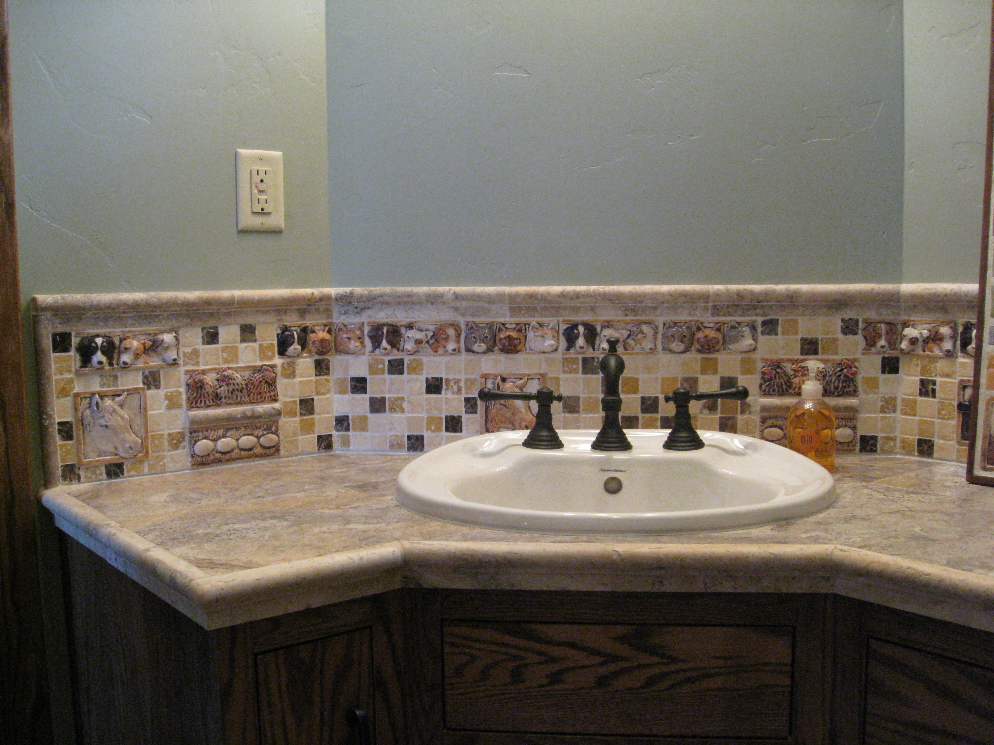 Bathroom sink backsplash ideas - Bathroom Sink Backsplash With Decorative Handmade Barnyard Animals Cat Dogs Tiles