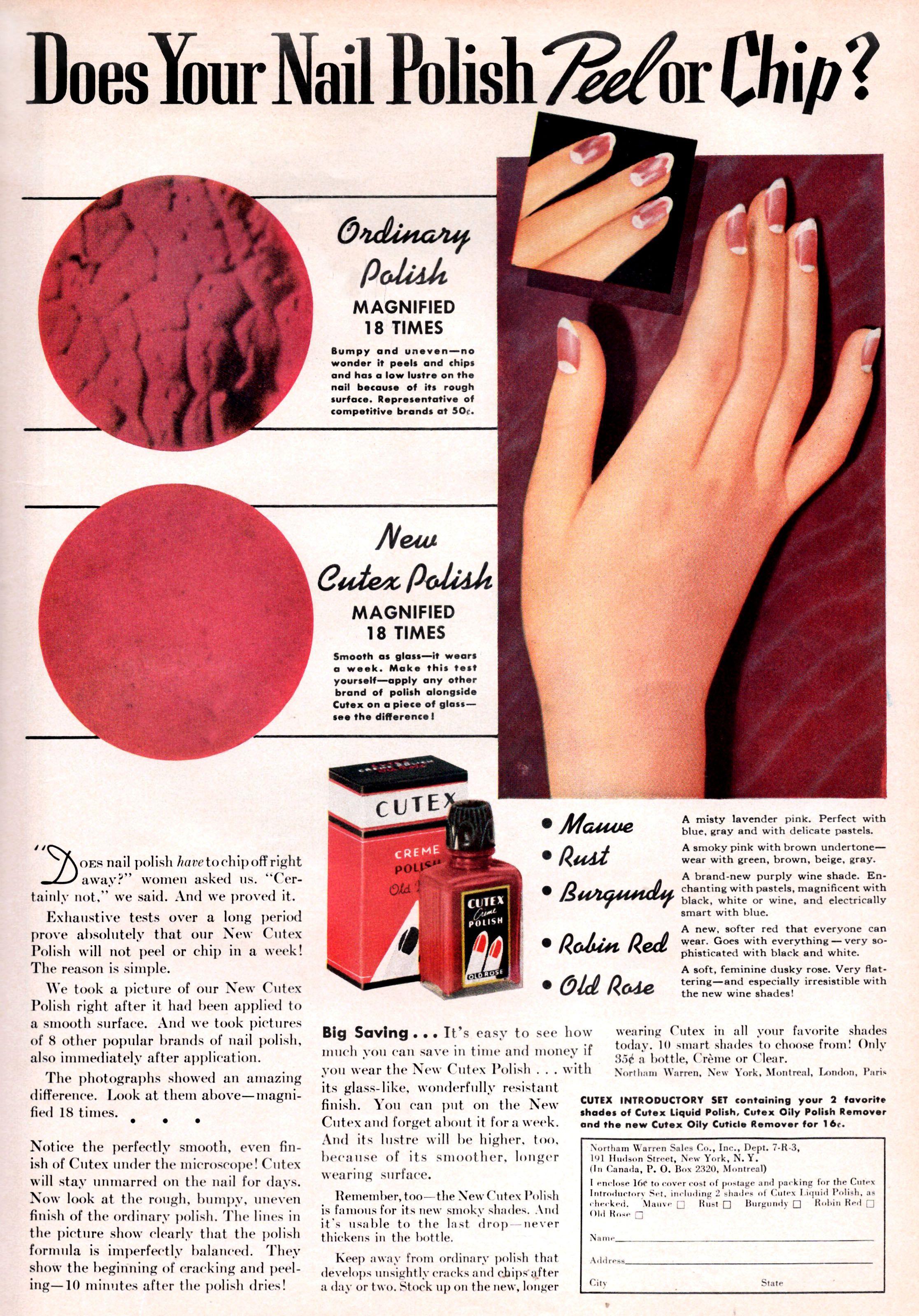 Vintage CUTEX nail polish ad from 1937 REDBOOK magazine | MAKEUP ...
