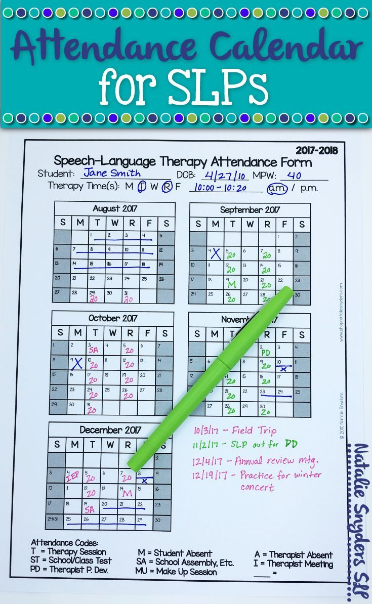 free attendance calendar for slps 2017 to 2018 by natalie snyders