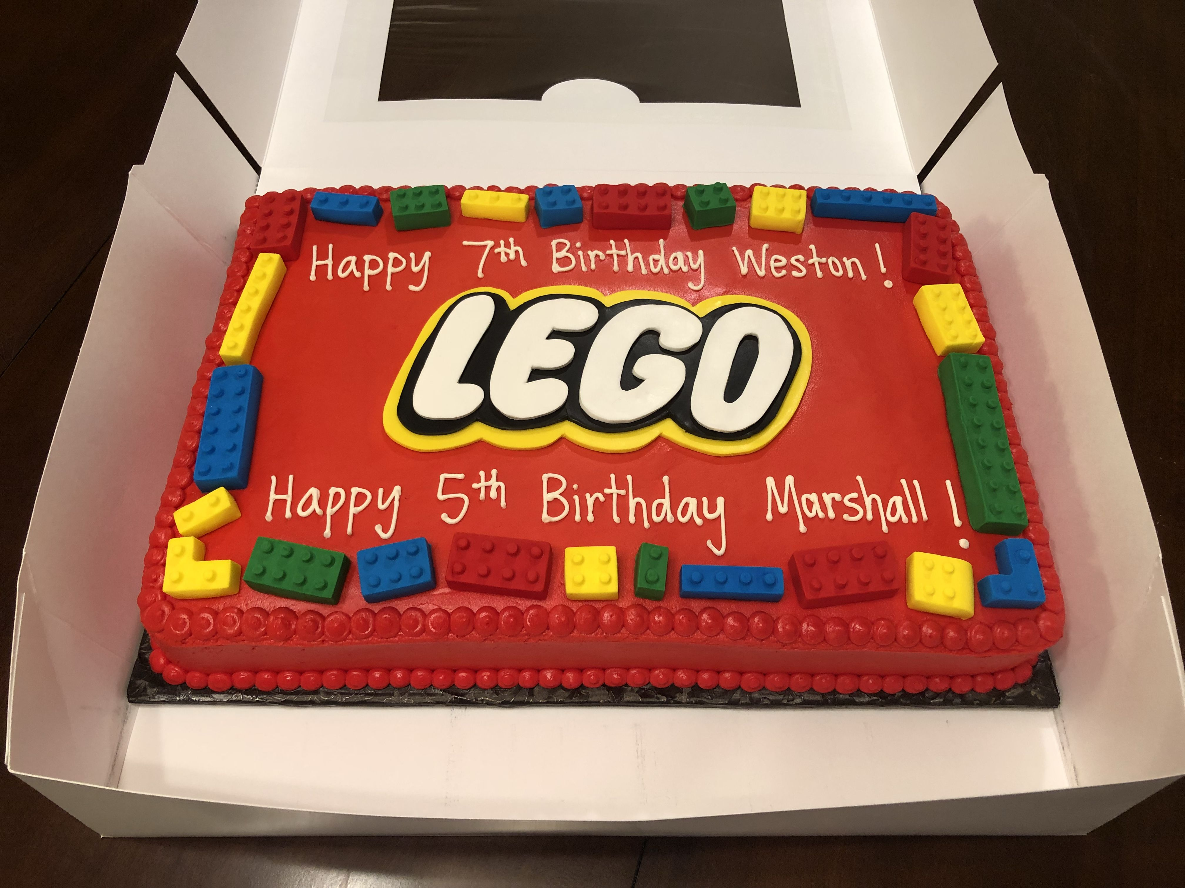 It S An Edible Lego Cake For Weston And Marshall S Birthday