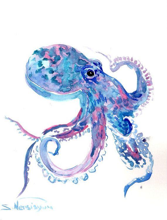 Blue Pink Octopus Original Watercolor Painting 10 X 8 In Sky