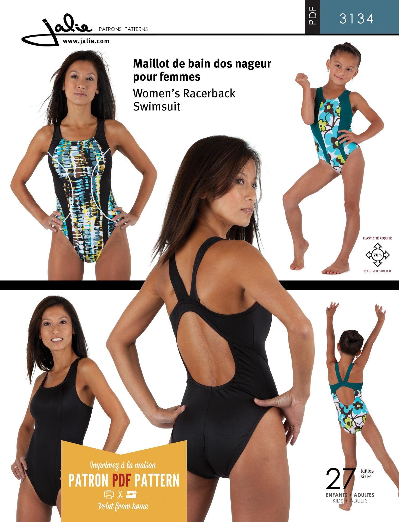 Jalie 3134 - Racerback Swimsuit PDF Pattern | Sew..ing + Draft...ing ...