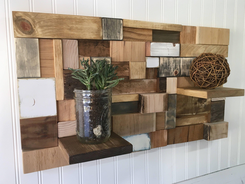 Reclaimed Wood Wall Art With Shelves Wood Display Shelf Wood