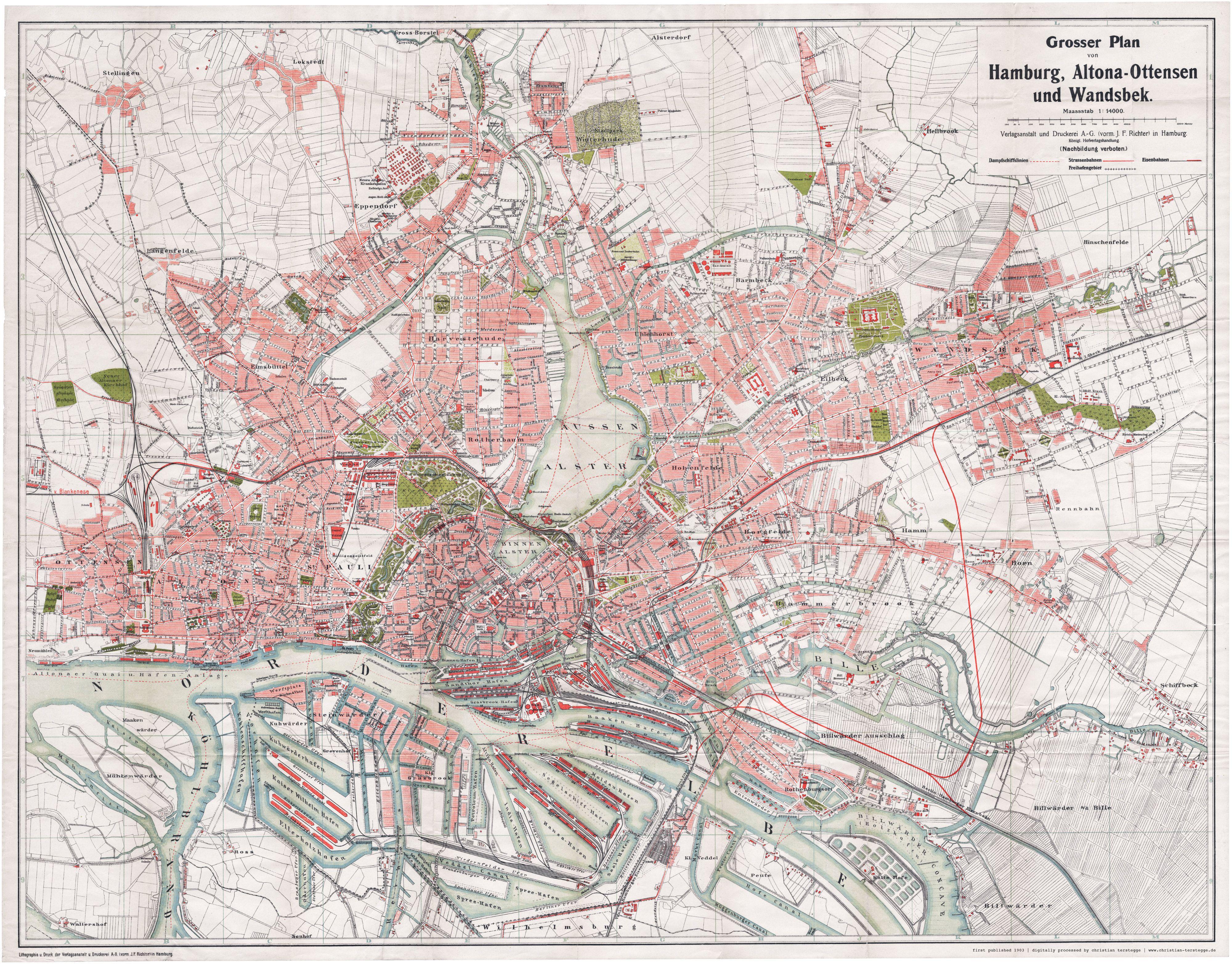 Karte Hamburg 1903 Grosser Plan Von Hamburg Altona Ottensen Und