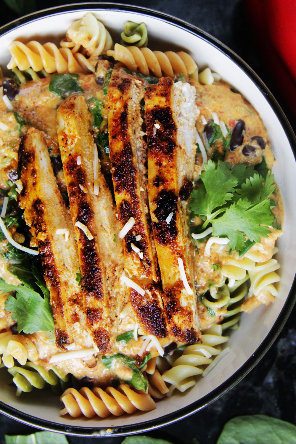 TexMex Creamy Roasted Red Pepper Pasta with Blackened ...