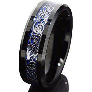 8mm Black Tungsten Carbide Ring Silvering Celtic Dragon Blue Carbon