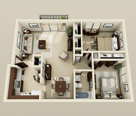 50 Plans 3D d\u0027appartement avec 2 chambres