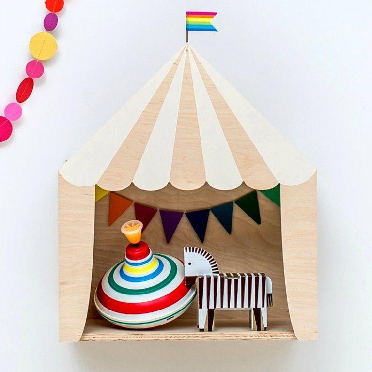 Kinderzimmer Regal 'Zirkuszelt' 30x36cm, weiß/Naturholz