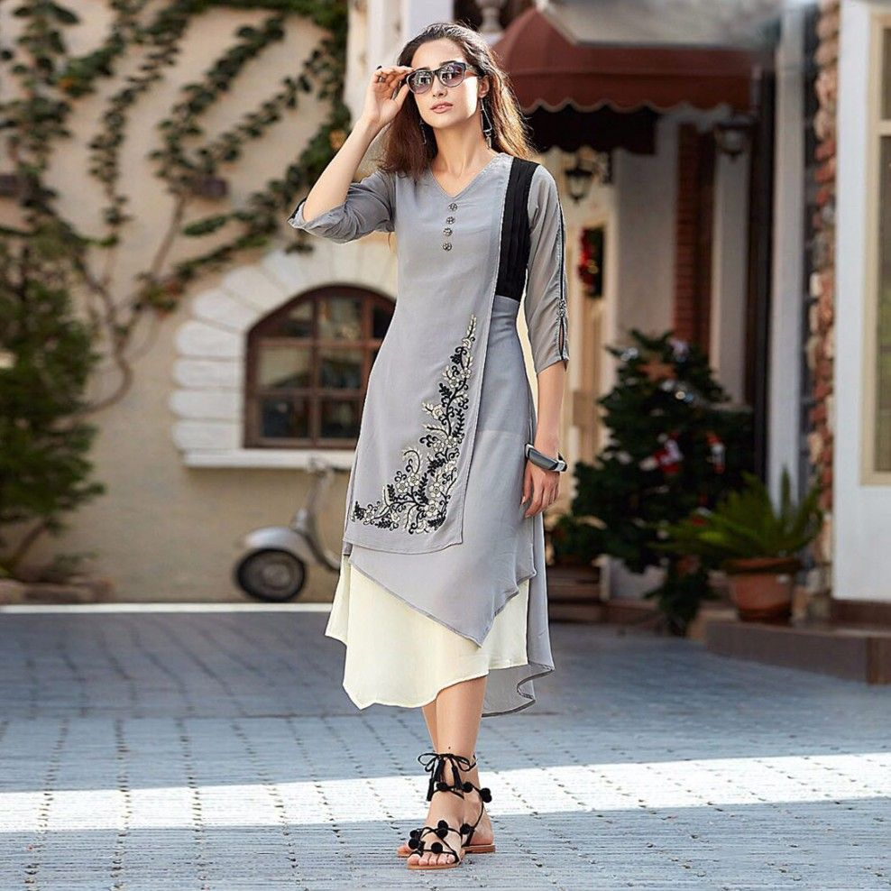 b784affb7 Buy Stylish Gray Designer Embroidered Georgette Kurti at Rs. 1149- Get  latest Embroidered Kurti for womens at Peachmode. ✓Genuine Products ✓ Easy  Returns ...