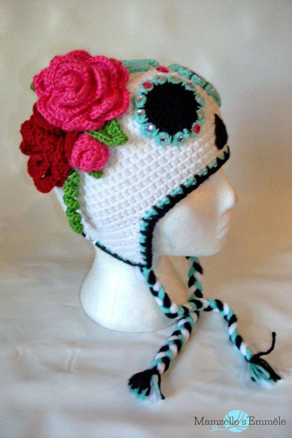 CUSTOM STW* Ready to ship unique sugar skull crochet hat dia de ...