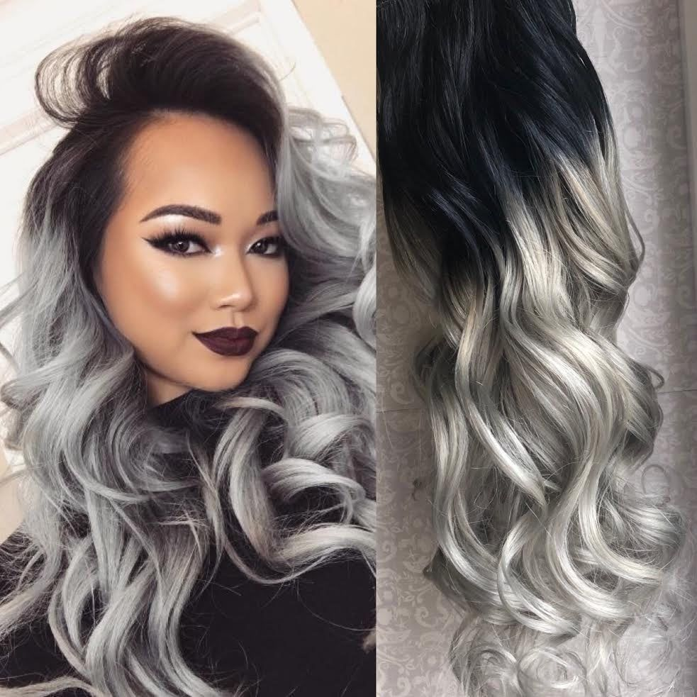 Black To Grey Ombre Hair Extensions Silver Ombre Hair Clip In Hair Extensions Black Clip Extensions In 2020 Grey Ombre Hair Silver Ombre Hair Ombre Hair Extensions