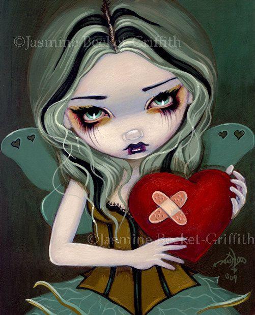 Mending a Broken Heart valentine bandaid fairy art by strangeling, $13.99