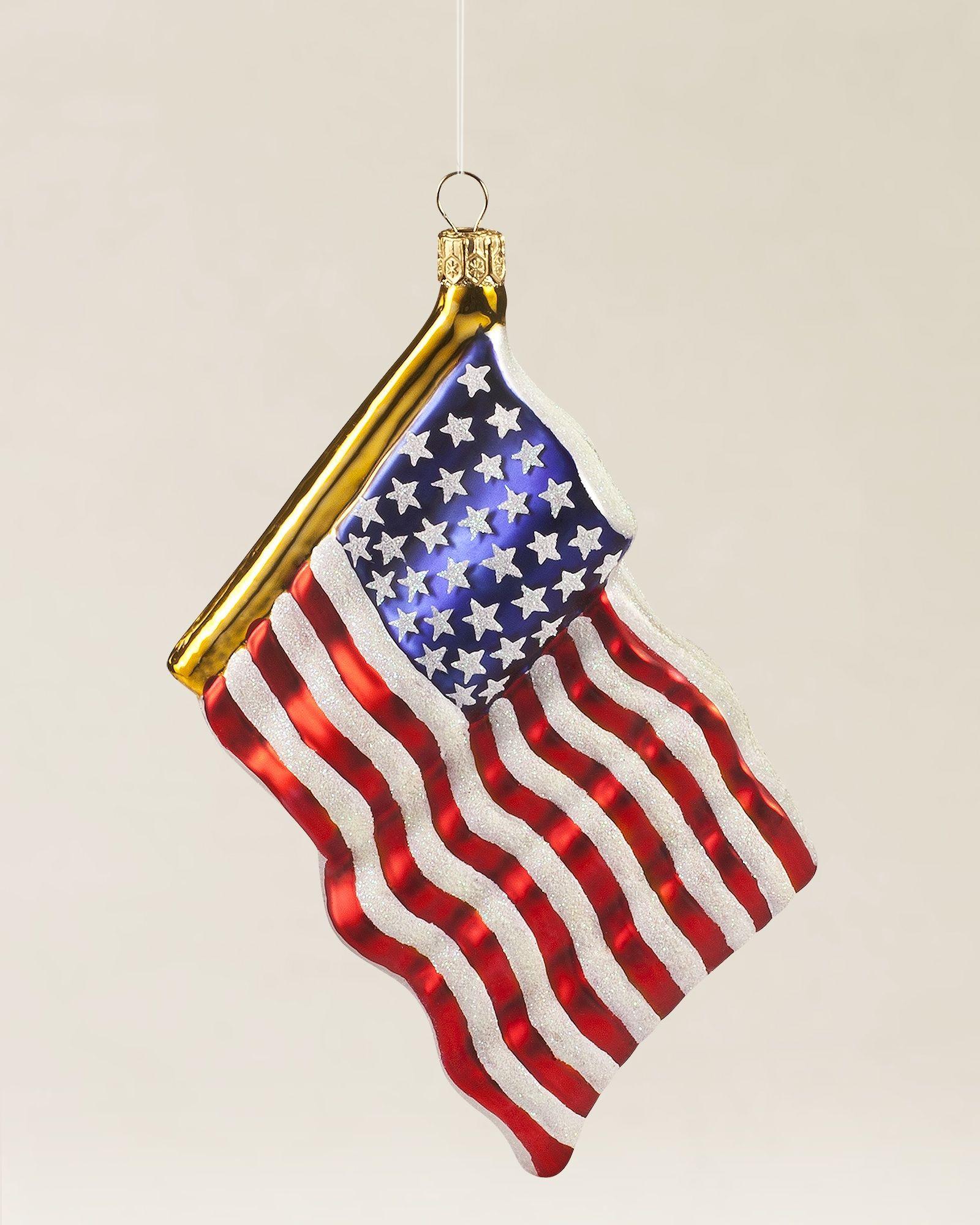 American Flag Blown Glass Ornament