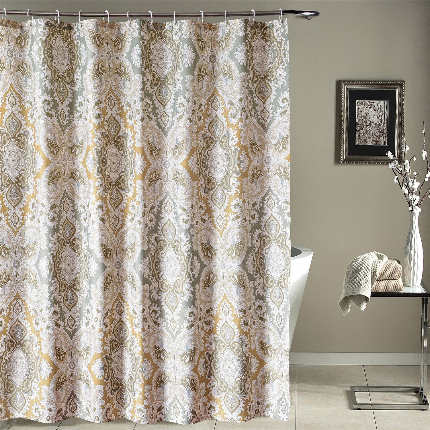 Details About High Quality Fabric Cloth Shower Curtain Blue
