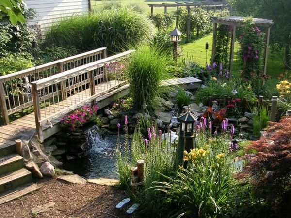 gartenideen mit teich und brücke Gardens Pinterest - Steingarten Mit Springbrunnen