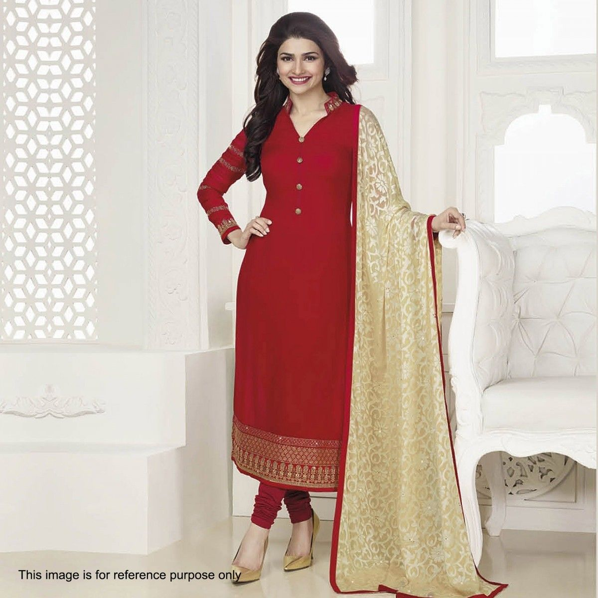 Buy Red Straight Cut Georgette Suit for womens online India, Best ...