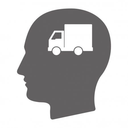 Isolated male head with a delivery truck - Stock Vector , #ad, #head, #male, #Isolated, #delivery #AD