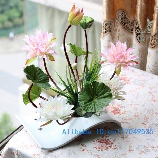 2019 Flower Arrangement Ikebana Arranged Artificial Lotus Flower